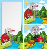 Three scenes of farm with cows and barn Stock Images