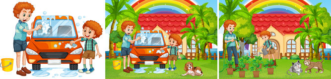 Three scenes of father and son doing chore. Illustration Stock Images