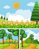 Three scenes with fields and trails. Illustration Royalty Free Stock Images