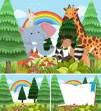 Three scenes of forest with wild animals. Illustration Stock Photo