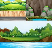 Three scenes of forests and river. Illustration Royalty Free Stock Photos