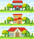 Three scenes with house in the field. Illustration Stock Photo