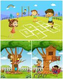 Three scenes with kids playing in the park. Illustration Royalty Free Stock Photos