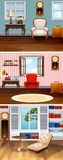 Three scenes of living room Royalty Free Stock Image