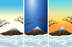 Three scenes of mountains with snowtop stock illustration