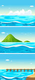 Three scenes of ocean at daytime. Illustration Stock Photos