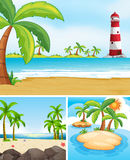 Three scenes with ocean and island. Illustration Royalty Free Stock Photography