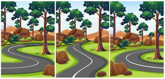 Three scenes of park with empty roads. Illustration Royalty Free Stock Photos