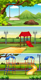 Three scenes of park and playground. Illustration Stock Photography