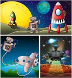 Three scenes with rocket in space. Illustration Royalty Free Stock Image