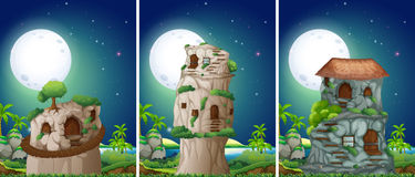 Three scenes of stonehouse at night Stock Photo
