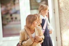 Three schoolgirls Stock Photo