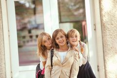 Three schoolgirls Stock Photo