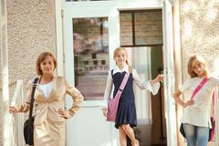 Three schoolgirls Royalty Free Stock Photos