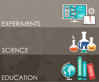 Three science banners. Infographics. Royalty Free Stock Photography