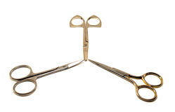 Three Scissors. Isolated on a white Royalty Free Stock Photography