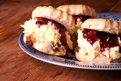 Three scones on the plate Royalty Free Stock Photos