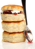 Three scones and a spoon Stock Image