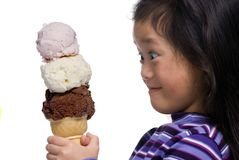 Three Scoops !!!. A young asian girls looks on with amazment....3 scoops ...all for me Stock Image