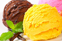 Three scoops of ice cream Royalty Free Stock Image