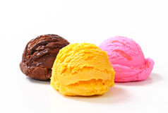 Three scoops of ice cream Royalty Free Stock Images
