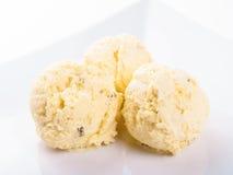Three scoops of ice cream Stock Photos