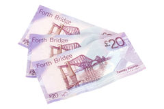 Three Scottish Twenties. Three Scottish twenty pound notes fanned out Stock Photo