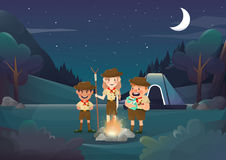 Three scouts camping for activity in the night illustration.vect. Three scouts camping for activity in the night illustration Royalty Free Stock Photography