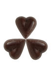 Three scratch chocolate hearts Royalty Free Stock Photos