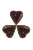 Three Scratch Chocolate Hearts Royalty Free Stock Photos