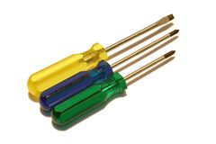 Three Screwdrivers. Isolated Screwdrivers Stock Images