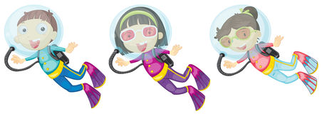 Three scuba divers. Illustration of the three scuba divers on a white background Royalty Free Stock Photos