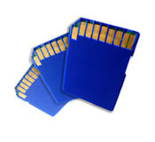 Three SD memory cards Royalty Free Stock Images