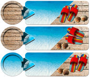 Three Sea Holiday Banners - N4. Sea holiday banners with blue water, wooden floor with sand, colored sandals, seashells and blue arrow Royalty Free Stock Images