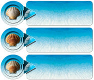 Three Sea Holiday Banners - N1. Set of three sea holiday banners with blue water of the sea, seashell and blue arrow Royalty Free Stock Photo