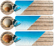 Three Sea Holiday Banners - N2. Set of three sea holiday banners with blue water of the sea, wooden floor with summer sand, seashell and blue arrow Royalty Free Stock Photography