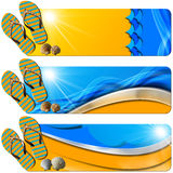 Three Sea Holiday Banners - N7. Set of three sea holiday banners with flip flops sandals, seashells, stylized waves and orange beach, concept of summer vacations Royalty Free Stock Photography