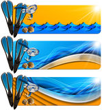 Three Sea Holiday Banners - N8. Set of three sea holiday banners with snorkeling equipment, seashells, stylized waves and orange beach, concept of summer Stock Photos