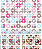 Three Seamless Background Patterns with Trim. Three vector retro-styled seamless backgrounds with matching trim strips Stock Photography