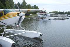 Three seaplanes Stock Images
