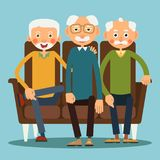 Three seated elderly men. Three elderly men sitting on the sofa. Illustration in flat style. Isolated Stock Images