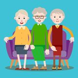 Three seated elderly women. Three elderly men sitting on the sofa. Illustration in flat style Stock Photos