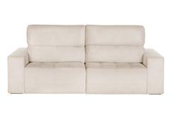 Three seats cozy beige sofa Stock Photo
