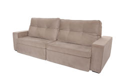 Three seats cozy brown sofa Stock Photography