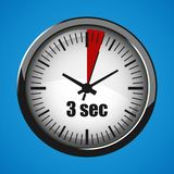 Three Seconds Clock on blue background. Clock 3d icon. Stopwatch icon. ThreeSeconds Clock on blue background. Clock 3d icon. Stopwatch icon stock illustration