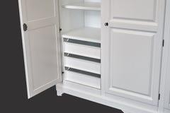 Three-section classic wardrobe isolated on dark grey Stock Photo