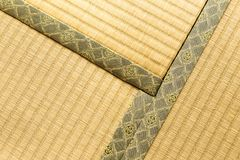 Three sections of tatami, Japanese traditional room floor mat, l. Hokkaido, Japan - 27 December 2017 - Three sections of tatami, japanese traditional room floor Stock Photos