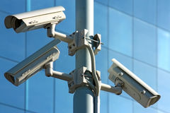 Three security cameras royalty free stock photo
