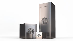 Three security metal safes near each other.  Stock Image
