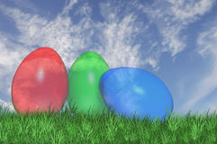 Three see trough easter eggs Royalty Free Stock Photos